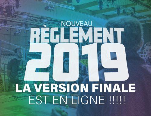 Le règlement Final 2019 est disponible depuis quelque jours